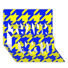 Houndstooth 2 Blue Thank You 3d Greeting Card (7x5)