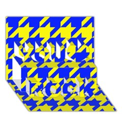 Houndstooth 2 Blue You Rock 3D Greeting Card (7x5)