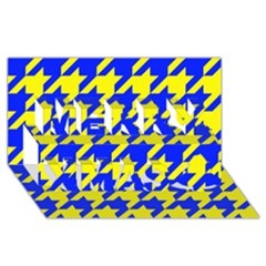 Houndstooth 2 Blue Merry Xmas 3D Greeting Card (8x4)