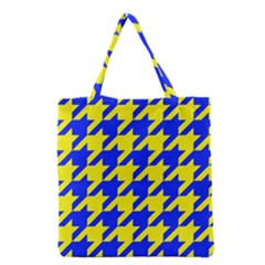 Houndstooth 2 Blue Grocery Tote Bags