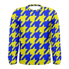 Houndstooth 2 Blue Men s Long Sleeve T-shirts