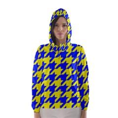 Houndstooth 2 Blue Hooded Wind Breaker (Women)