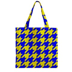 Houndstooth 2 Blue Zipper Grocery Tote Bags