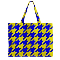 Houndstooth 2 Blue Zipper Tiny Tote Bags