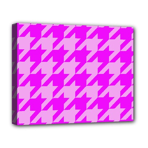 Houndstooth 2 Pink Deluxe Canvas 20  x 16