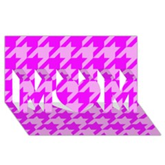 Houndstooth 2 Pink MOM 3D Greeting Card (8x4)