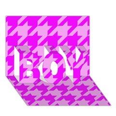 Houndstooth 2 Pink Boy 3d Greeting Card (7x5)