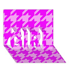 Houndstooth 2 Pink GIRL 3D Greeting Card (7x5)