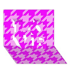 Houndstooth 2 Pink Love 3d Greeting Card (7x5)
