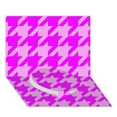 Houndstooth 2 Pink Circle Bottom 3D Greeting Card (7x5)