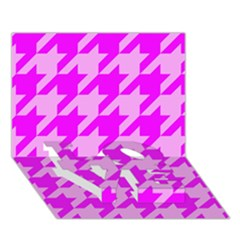 Houndstooth 2 Pink Love Bottom 3d Greeting Card (7x5)
