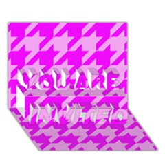 Houndstooth 2 Pink YOU ARE INVITED 3D Greeting Card (7x5)