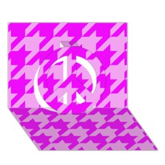 Houndstooth 2 Pink Peace Sign 3D Greeting Card (7x5)
