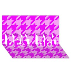 Houndstooth 2 Pink BEST BRO 3D Greeting Card (8x4)