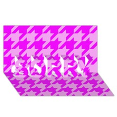 Houndstooth 2 Pink SORRY 3D Greeting Card (8x4)