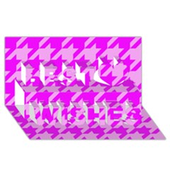 Houndstooth 2 Pink Best Wish 3d Greeting Card (8x4)