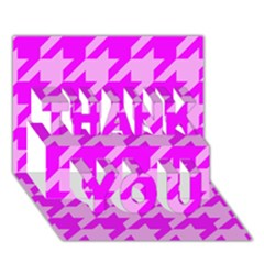 Houndstooth 2 Pink THANK YOU 3D Greeting Card (7x5)