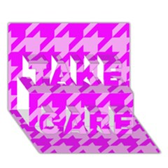 Houndstooth 2 Pink Take Care 3d Greeting Card (7x5)