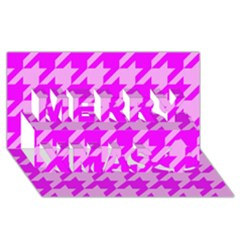 Houndstooth 2 Pink Merry Xmas 3D Greeting Card (8x4)