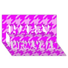 Houndstooth 2 Pink Happy New Year 3D Greeting Card (8x4)