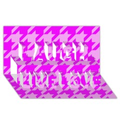 Houndstooth 2 Pink Laugh Live Love 3D Greeting Card (8x4)