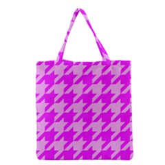 Houndstooth 2 Pink Grocery Tote Bags