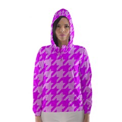 Houndstooth 2 Pink Hooded Wind Breaker (women)