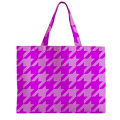 Houndstooth 2 Pink Zipper Tiny Tote Bags
