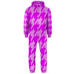 Houndstooth 2 Pink Hooded Jumpsuit (Men)