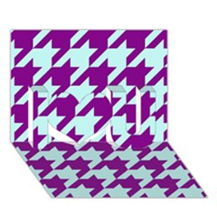 Houndstooth 2 Purple I Love You 3d Greeting Card (7x5)