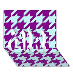 Houndstooth 2 Purple Girl 3d Greeting Card (7x5)