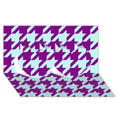 Houndstooth 2 Purple Twin Hearts 3D Greeting Card (8x4)