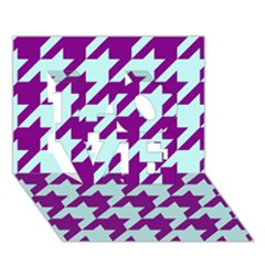Houndstooth 2 Purple Love 3d Greeting Card (7x5)