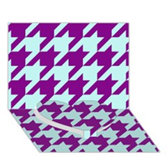 Houndstooth 2 Purple Heart Bottom 3d Greeting Card (7x5)