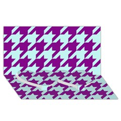 Houndstooth 2 Purple Twin Heart Bottom 3D Greeting Card (8x4)