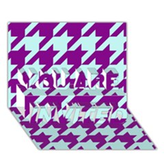 Houndstooth 2 Purple You Are Invited 3d Greeting Card (7x5)