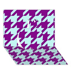 Houndstooth 2 Purple Apple 3D Greeting Card (7x5)
