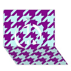 Houndstooth 2 Purple Peace Sign 3D Greeting Card (7x5)