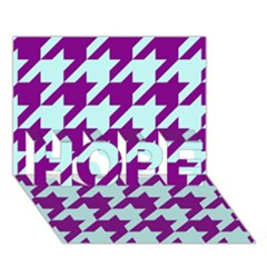 Houndstooth 2 Purple Hope 3d Greeting Card (7x5)