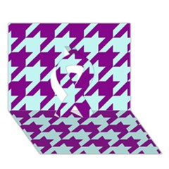 Houndstooth 2 Purple Ribbon 3D Greeting Card (7x5)