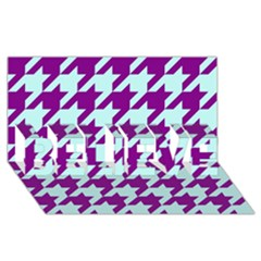 Houndstooth 2 Purple BELIEVE 3D Greeting Card (8x4)