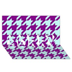 Houndstooth 2 Purple SORRY 3D Greeting Card (8x4)
