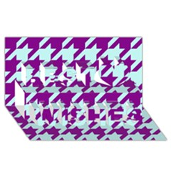 Houndstooth 2 Purple Best Wish 3D Greeting Card (8x4)