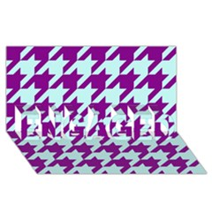 Houndstooth 2 Purple Engaged 3d Greeting Card (8x4)