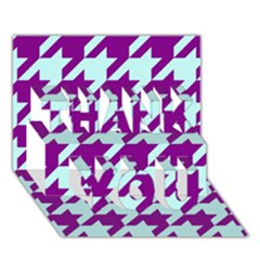 Houndstooth 2 Purple THANK YOU 3D Greeting Card (7x5)