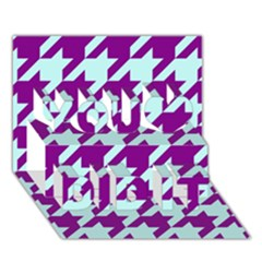 Houndstooth 2 Purple You Did It 3D Greeting Card (7x5)