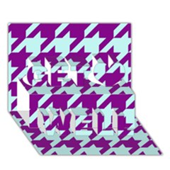 Houndstooth 2 Purple Get Well 3d Greeting Card (7x5)