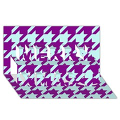 Houndstooth 2 Purple Merry Xmas 3D Greeting Card (8x4)