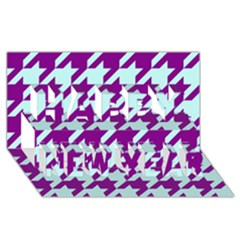 Houndstooth 2 Purple Happy New Year 3d Greeting Card (8x4)