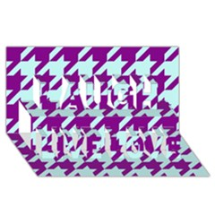 Houndstooth 2 Purple Laugh Live Love 3D Greeting Card (8x4)